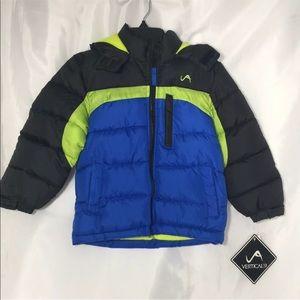 Boys Puffer Winter Jacket Sz 4 Blue Hoodie New
